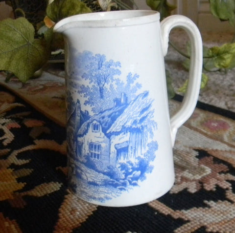 Blue Transfer Ware Pitcher Rural Scenes Spode Copeland Cattle Grazing Cows circa 1879-80