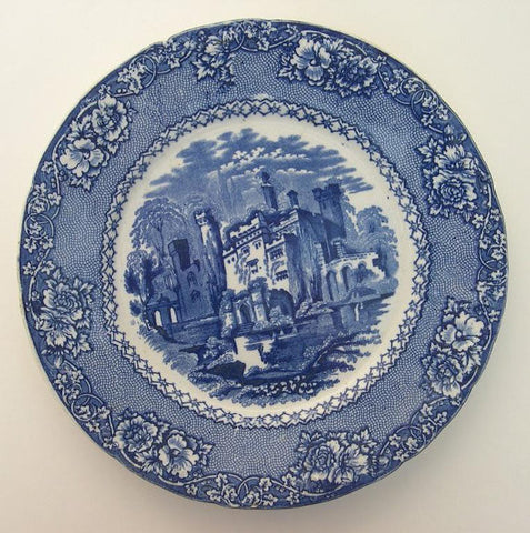 Antique Staffordshire Blue Transferware Rimmed Bowl Alhambra Fortress Castle Ruins Flowers