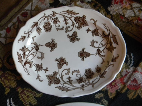 Vine Scrolls And Flowers Brown English Transferware Platter