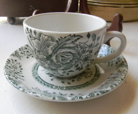 Vintage English Green Transferware Demitasse Cup and  Saucer Roses Flowers