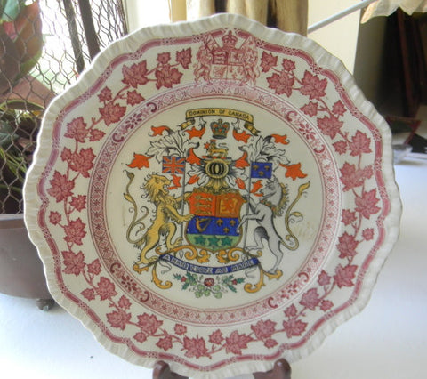 Red and Black Clobbered Two Color Transferware Dominion of Canada