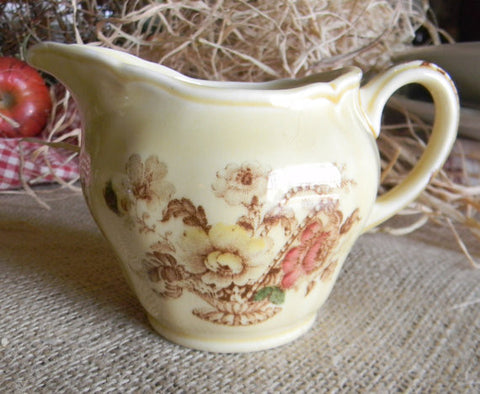 Vintage English Brown Transferware Creamer  Pitcher  Basket Flowers Polychrome