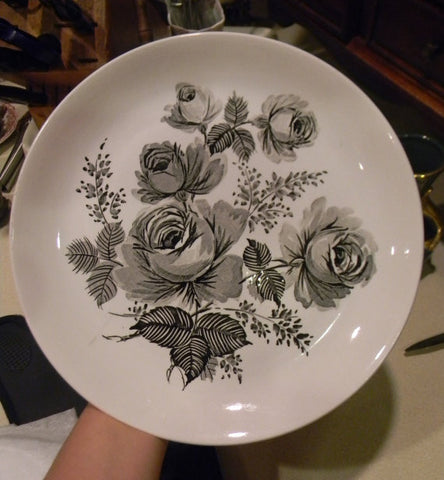 Meakin Black Transferware  Victoria Roses Vintage English Plate