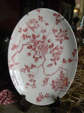 Ridgway Red Toile Roses Vintage English Transferware Platter