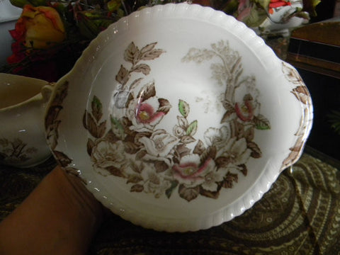 Vintage  Brown Transferware Tab Handled Bowl Dogwood or Apple Flower Blossoms