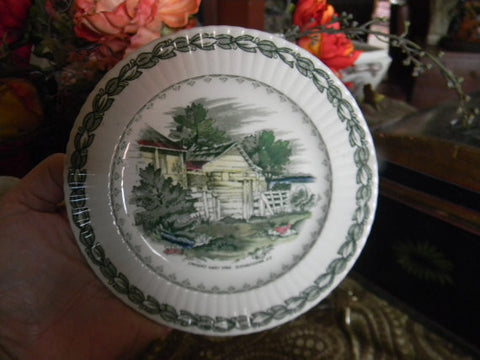English Green Transferware Plate Early American Scenery Lincoln's Home Kentucky