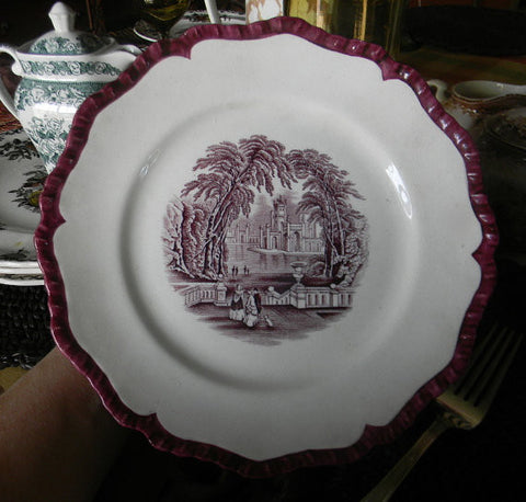 Masons Vista Purple Aubergine Transferware Scenic Plate Dog Park Couples RARE