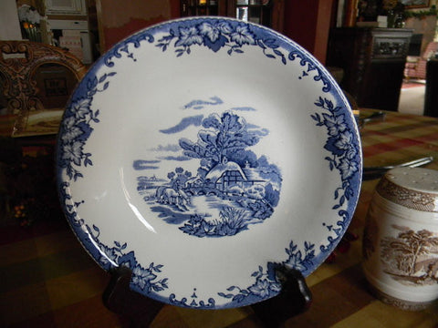 Blue Transferware Salad Bowl Byron Cottage Horse Drinking From Stream Bridge Ivy