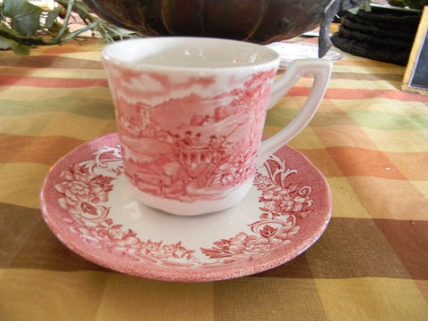 J & G Meakin Red Pink Transferware Mug Cup and Saucer Cottage Cattle Cows Horses Roses