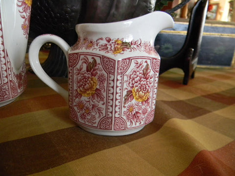 Red English Ironstone Transferware Canterbury Creamer Pitcher Handpainted Flowers