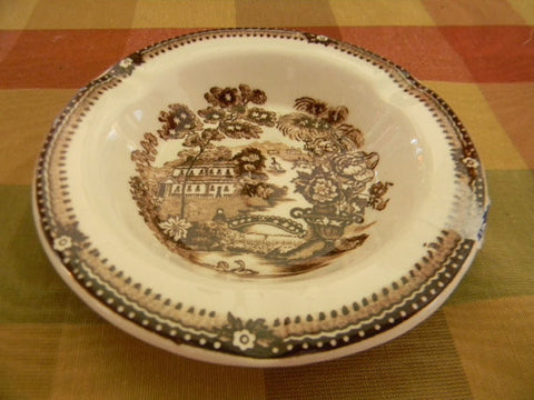 Scenic Brown Transferware  Ashtray Coaster Tonquin Swans Clarice Cliff
