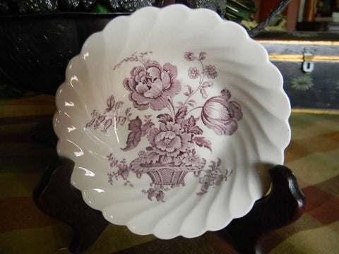 Lavender Purple English Transferware  Berry Bowl Candy Dish  Charlotte Victorian Basket of FLowers Signed Clarice CLiff