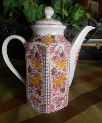 Red English Ironstone Transferware Canterbury Coffee Pot Coffeepot Handpainted Flowers