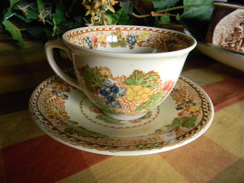 Brown Polychrome Transferware Woods Teacup Tea Cup and Saucer Flowers and Grapes LG