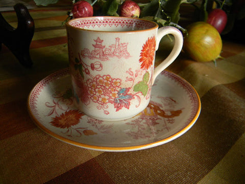 Antique Aesthetic Transferware Red Polychrome Oriental Motif  Demitasse  Cup and Saucer Flowers Pagoda