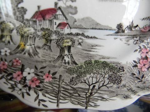 J. G. Meakin Square Brown English Transfer Ware Cereal Bowl Field of Hay Stacks Cottage Lake