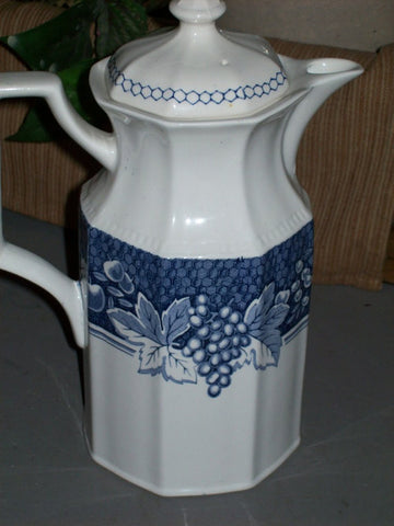 Blue and White Ironstone Transferware Coffee Pot or Tea Pot Grapes Cherries Rasberries