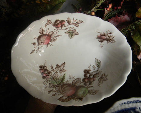 Brown Polychrome Transferware Oval  Vegetable Serving Bowl Apples Grapes Green Red and Brown