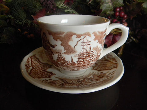 Brown Transferware Cup and Saucer Nautical Theme with Ships Sailors Farewell