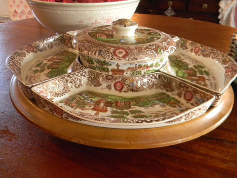 Brown English Transferware Lazy Susan 7 pc set with platters and casserole dish RARE