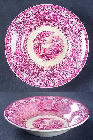 Jenny Lind Red Transferware Candy Bowl Dish Alpine Scene Mountains Castle