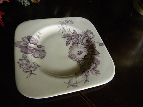 "Wood & Sons ""Huth"" Darling Purple English Transferware Square Plate Morning Glory Flowers"