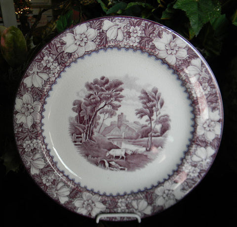 Purple Transferware Plate Grazing Cow Lake Mountains Flowers