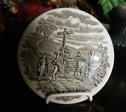 Brown English Transferware Ironstone Coaster Plate Stagecoach Coaching Scenes Rabbit