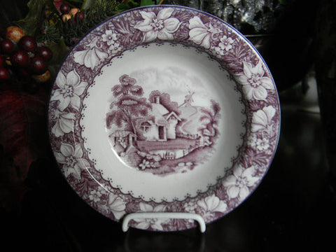 Purple Transferware Candy Dish Shallow Bowl Picket Fence Water Well Windmill Cottage Bridge Peonies