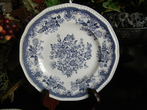 Vintage Blue Toile English Transferware Plate Roses Bird Butterfly Butterflies