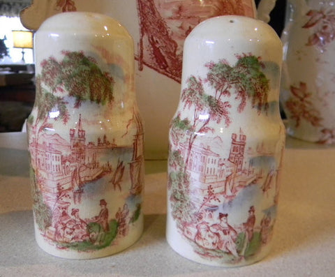Safe Harbour Red Polychrome Transferware Salt and Pepper Shakers