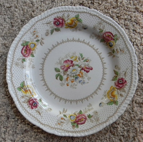 Shabby Roses and Daisies Brown Transferware  Plate Ridgway Pink Yellow Blue Lynton