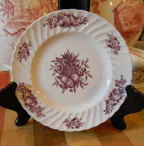 Flowers Fruits Apples Pears Pineapple and Roses Purple Transferware Plate