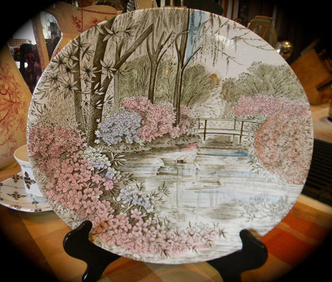 Vintage Polychrome  Brown Transferware Platter English Gardens of Azaleas in Spring