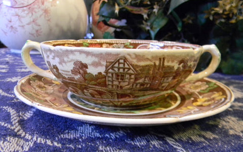 Polychrome Dual Handled Cream Soup Bowl & Under Plate Brown English Transferware Coalport Pastoral Scenes Flowers