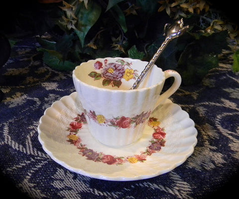 Pink Red Transferware Polychrome Spode Copeland Demitasse Cup and Saucer Briar Roses