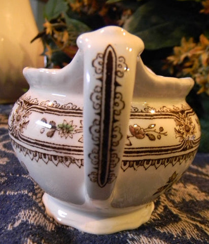Brown Polychrome Transferware Creamer Pitcher Aesthetic Asian Flowers England