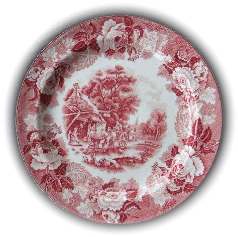 Scenic Red Pink Transferware Plate Chickens Horse Farm Peonies Roses