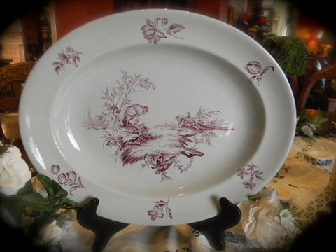 Vintage Wedgwood Country French Platter Plum Purple Transferware  Roosters Pheasants Flowers Gray Creamware  Staffordshire China Rooster Decor