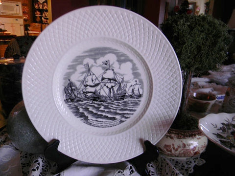 Historical Spode Copeland Vintage English Transferware Black Plate Ships arriving at Jamestown