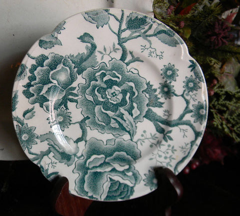 Teal Transferware Plate Cabbage Roses and Flowers