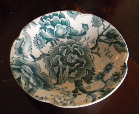 Teal Transferware Bowl Candy Dish Trinket Dish  Cabbage Roses and Flowers
