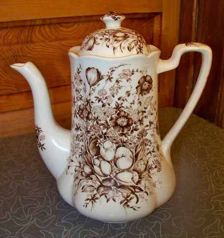 Vintage Tulips Roses and  Daisies BROWN TRANSFERWARE TEAPOT Tea Pot Coffee Pot