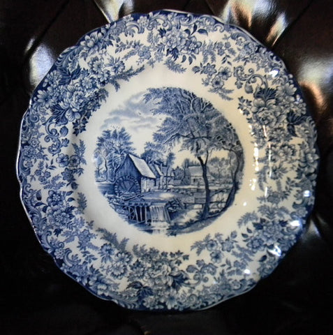 Blue Vintage English Transferware Plate English Bucolic Mill Stream Roses