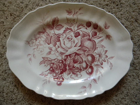 Beautiful Large Red English Transferware Platter Bouquet of  Roses Cherries Grapes Flowers Raspberries