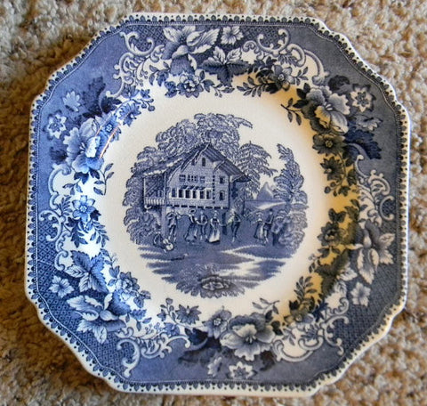 "Wedgwood ""Avon Cottage"" Square Blue Toile Transferware Plate Cottage Picnic and  Music Scene - Roses Border"