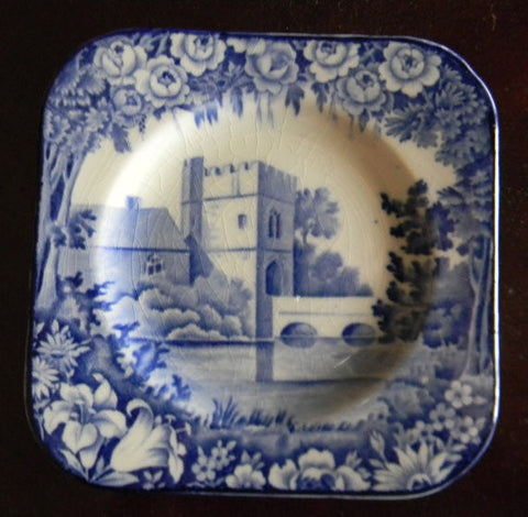 RARE Vintage Blue Transferware Square Canape Plate Roses Broughton Castle Wood and Sons Castles