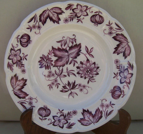 Johnson Bros Malvern Vintage Purple Aubergine TRANSFERWARE PLATE Seed Pods Dahlias and Flowers
