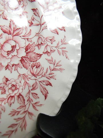 red floral chintz toile roses daisies blue bells vintage english trans