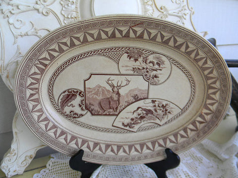 Circa 1880 Aesthetic Movement Brown Transferware Platter Stag Deer Bird Warwick Victorian pottery Staffordshire China